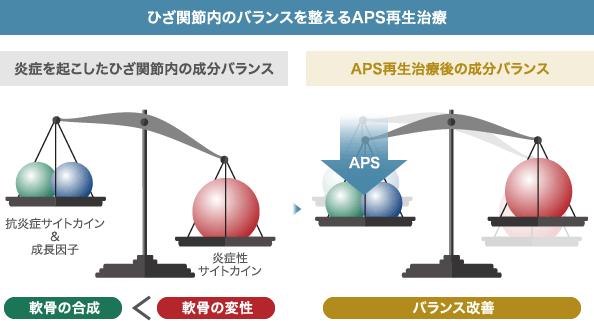 ひざ関節内のバランスを整えるAPS再生治療: 炎症を起こしたひざ関節内の成分バランス: 抗炎症サイトカイン & 成長因子 / 軟骨の合成 < 炎症性サイトカイン 軟骨の変性 | APS再生治療後の成分バランス: APS バランス改善