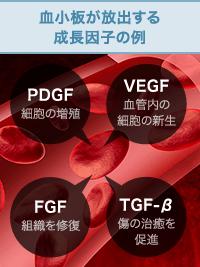 血小板が放出する成長因子の例